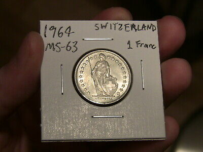 Uncirculated BU One Swiss Franc coin 1964 Switzerland