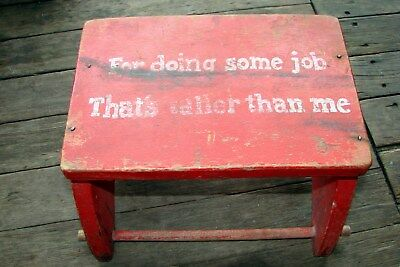 """PRIMITIVE CHILDS-RED Plant Stand Foot Stool Wood """"FOR DOING SOME JOB BIGGER ME"""""""
