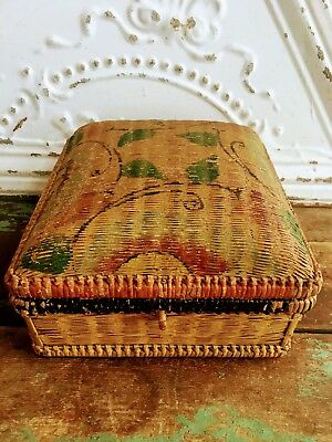 Antique Chinese Reed Wicker Tea Caddy sewing Box Hand Painted top