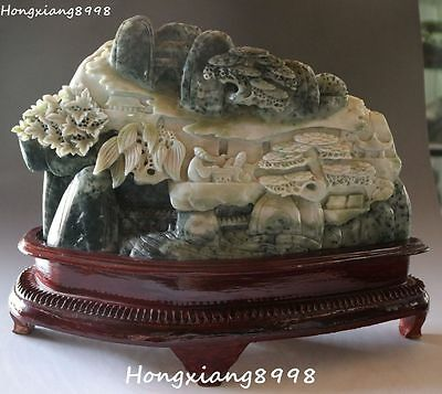 "14"" China Dushan Jade Carving Old Man Mountain Water Scenery Shanzi Hilld Statue"