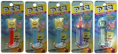 Spongebob Squarepants Set Of 5 Strap Holders Pez - W/ Patrick & Squidward - Rare