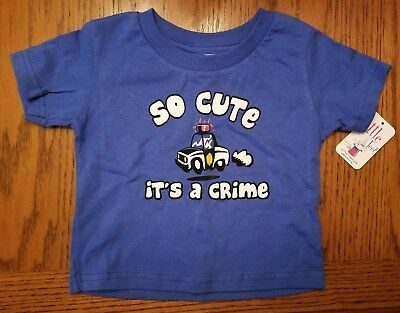 2T Little Teez ~ Funny Baby Tshirt So Cute It's A Crime Text Blue Policeman Boy