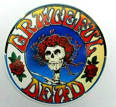 """Grateful Dead Bertha  Decal Sticker 4"""" x 4"""" Round Skull And Roses"""