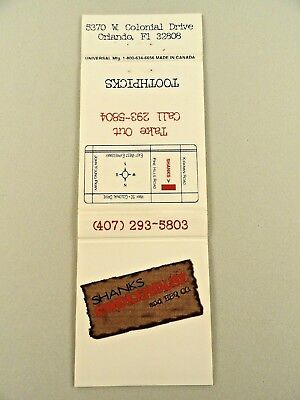 Matchbook Style Toothpick Cover ~ SHANKS SMOKEHOUSE & BBQ CO. Orlando, FL 20 Uni