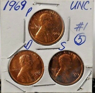 Unc. Set Of 1969 P,D,S Lincoln Memorial Pennies  (21018)5,Free Shipping!!!!!