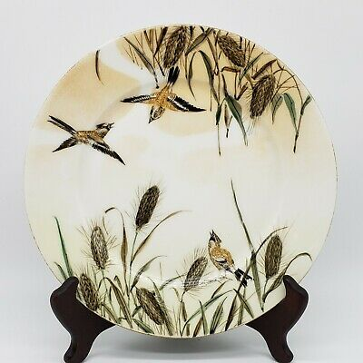 Beautiful Japanese Kutani Porcelain Plate With Birds And Cattails Late Meiji