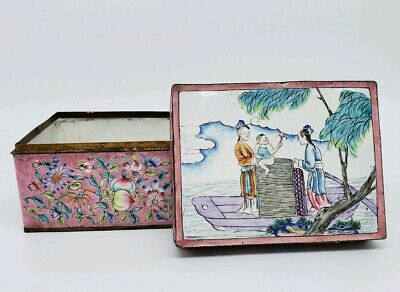 Antique Chinese Painted Canton Enamel Box With Characters Scene
