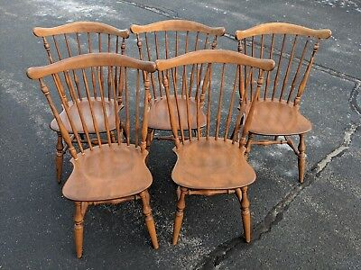 Set of Five ETHAN ALLEN Baumritter #442 Maple Windsor Chairs in Ct