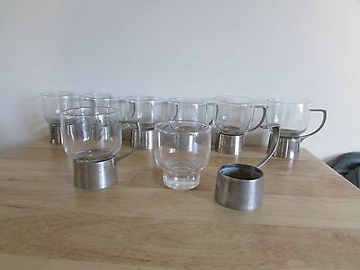 Set of Eight Vintage 8 oz Kings Cups Drinking Glasses Clear Metal Punch Liquor