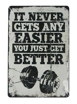 US SELLER,It never gets any easier you just get better tin metal sign man cave