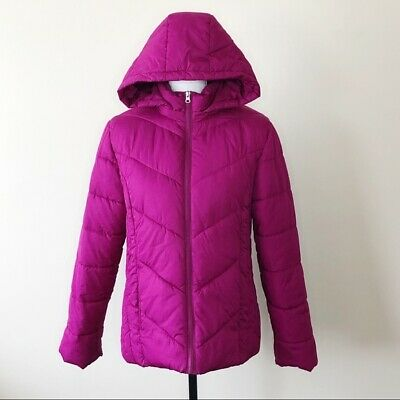 0a42fa8280f32 Faded Glory Women's Hooded Puffer Coat Size M Insulated Jacket Front Zip  Pink