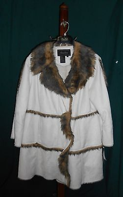 "Terry Lewis Classic Luxuries ""Ivory Faux Suede Coat W/Faux Fur Trim"" 1X, New!"