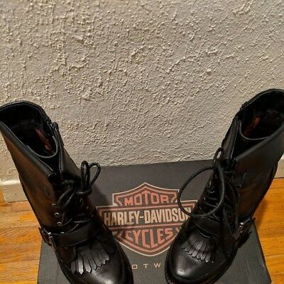 c1549cb6f501f5 New Harley Davidson Leather Women Black Zip Up w Buckle Boots Size 8 Med  D83514