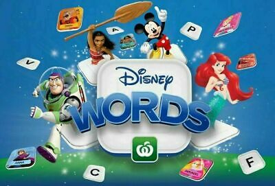 Woolworths Disney Words Tiles - All Characters $1.50 each *Free Post available*