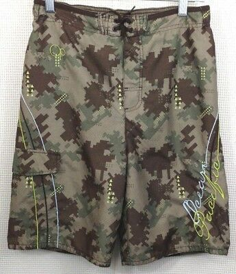 c946b1cb92 Boy's Ocean Pacific OP Swim Trunks Size XL 14/16 Board Shorts Youth Brown  Camo