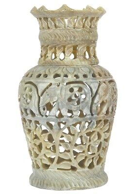 Indian Handcrafted Soap Stone Vase Decorative Elephant Floral Carved Unique Gift