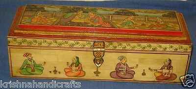 Vintage Look Fine Hand Made Miniature Mughal Painted Wood + Camel Bone Pen Box