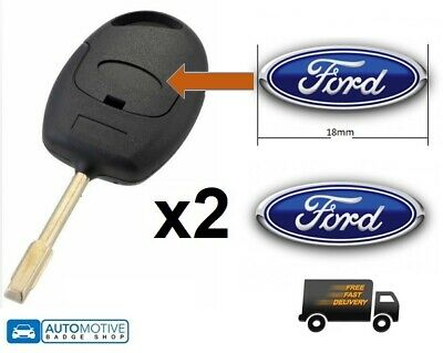 2 X FORD KEY FOB REMOTE BADGES EMBLEM LOGO 18MM BLUE Free UK Postage