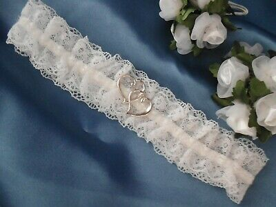 Lace Wedding Bridal Garter Entwined Hearts White