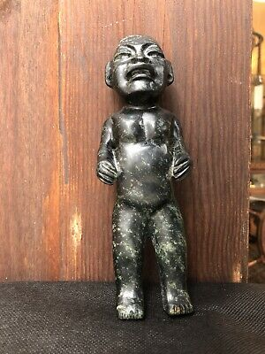Ancient Dark Green Jade Pre Colombian Olmec Elongated Man Sculpture Figure