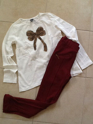 Zara Girls Burgundy Red 2pc Outfit Lot Legging & Gold Sequin Bow Top size 9-10