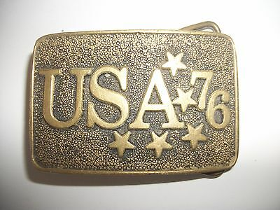 VINTAGE 1970's USA '76 200 Years of Freedom Solid Brass Belt Buckle
