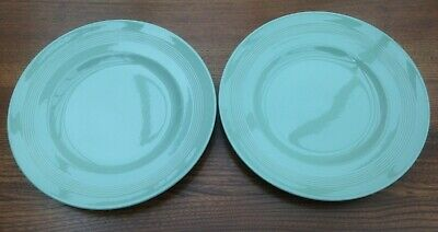 """Vintage Woods Ware """"Beryl"""" - 2 Green Pottery 9 3/4 Inch Dinner Plates"""