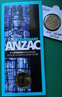 2014 Unc $1.00 & 2015 One Dollar Commemorative ANZAC Uncirculated Mint Mark Coin
