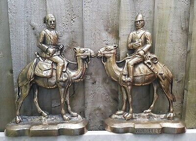 Pair of 19thC Bronze Wolesley on Camels Fireside Mantle ornaments Door Stops