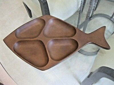 "Mid Century Modern 15"" Teak Fish Shaped Condiment Tray"