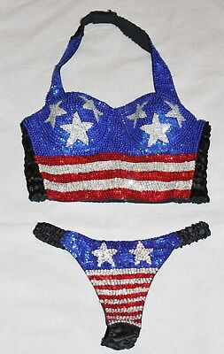 Vintage Sequin Halter Top Matching Thong Panties USA Flag Sexy Patriotic Set S/M