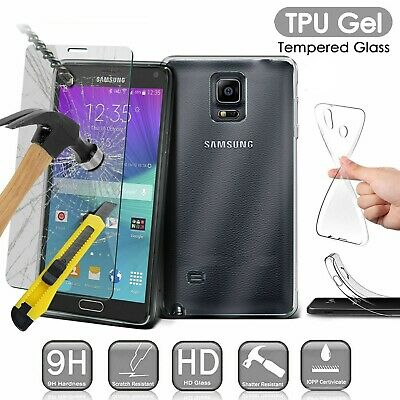 Clear TPU Gel Case Cover + Tempered Glass Screen Protector For Samsung Galaxy