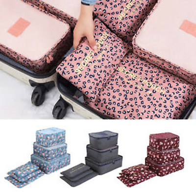 6PCS Travel Luggage Organizer Clothes Underwear Socks Packing Cube Storage Bags