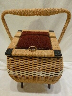Vintage Mid Century Penney's Large Woven Rattan Wicker Sewing Basket with Legs