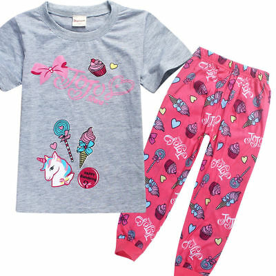 JoJo Siwa Unicorn Kids Casual T-Shirts Pants home dress pyjamas nighty Nightwear