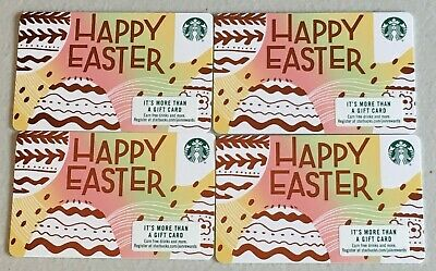 Lot of 4 Starbucks Easter Gift Cards ~ 2019, Series 6164 ~ New/No Value