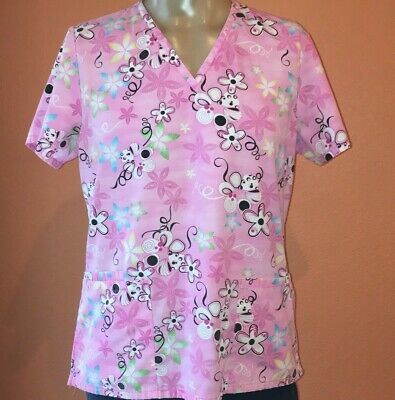 acc83f5a07d SB Scrub Top Pink Size Small Floral Polyester Short Sleeve Womens With 3  Pockets