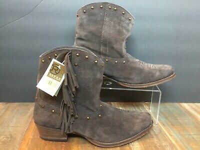 762246e24e6 New Roper wear the west Womens Brown Suede studded Fringe ankle Brown Sz 9