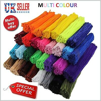 """Chenille Craft Stems Pipe Cleaners 30cm 12"""" Stems Bristle Bundles assorted UK"""