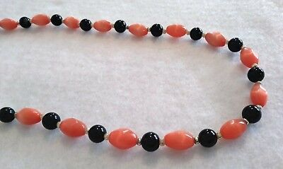 "Vtg Screw Clasp Orange & Black Glass Beaded Necklace 18"" Long"