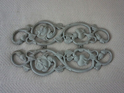 Wrought Iron Wall Decor Floral Roses Painted Gray Very Heavy