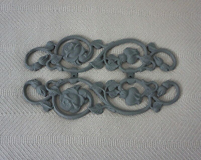 Wrought Iron Wall Decor Floral Roses Painted Dark Gray Very Heavy