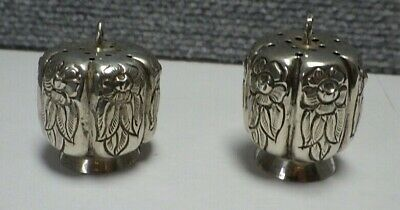 Pair Of Mexican Sterling Silver Floral Salt & Pepper Shakers