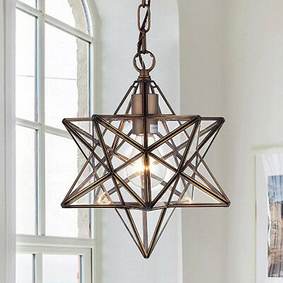 Vintage Chandelier Antique Bronze Glass Star Style Ceiling Light Chandeliers One