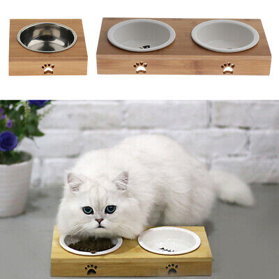 3 Pieces Raised Pet Bowls for Cats Dogs Bamboo Dog Cat Food Water Bowls