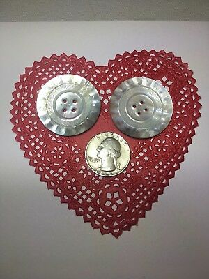 Buttons two large Mother of Pearl antique vintage sewing flatbacks MOP free ship