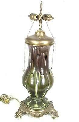 Antique Victorian Art Nouveau Green Glazed Ceramic Double Socket Oil Lamp