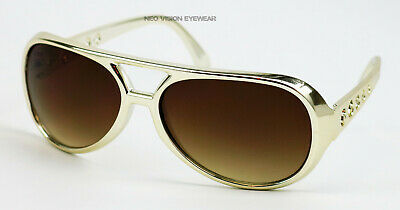 Elvis Gold Brown Vintage Style Aviator Sunglasses Retro Metallic Large BIG