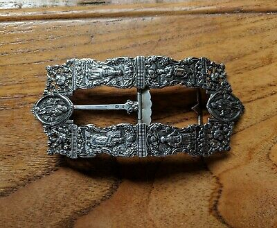 Rare and important Dutch Silver Belt Buckle Circa 1850 Judaica