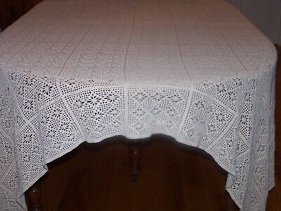 "Antique Hand Crochet Filet Lace Tablecloth Diamond Pattern 81"", Mocha Ivory 1920"